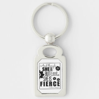 Little & Fierce - Black & White Silver-Colored Rectangle Keychain