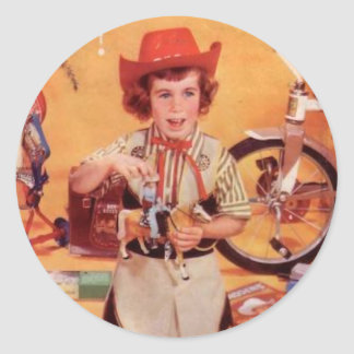 Little Fifties Cowgirl Classic Round Sticker