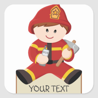 little firefighter fireman square sticker