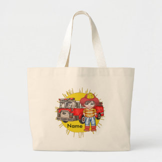 Little Firefighter Name jumbo tote bag