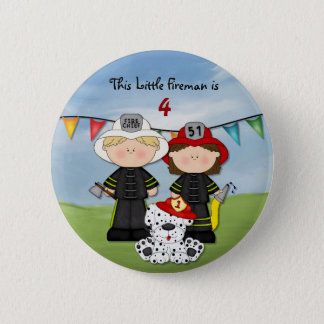 Little Fireman Birthday - Customize 2 Inch Round Button