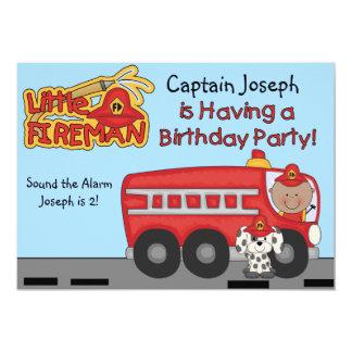 "Little Fireman Custom Birthday Invitation 5"" X 7"" Invitation Card"
