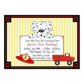 "Little Fireman First Birthday 5"" X 7"" Invitation Card"