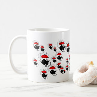 Little fishes with red umbrellas coffee mug