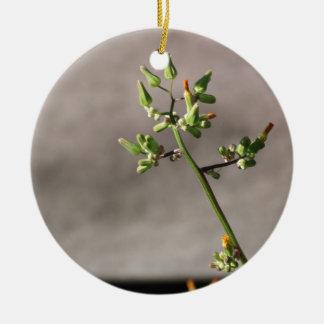 Little Flower Buds Round Ceramic Ornament