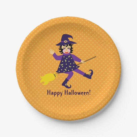 Little flying witch 7 inch paper plate