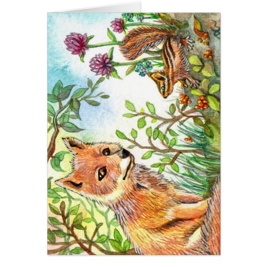 Little Fox And Chipmunk Card