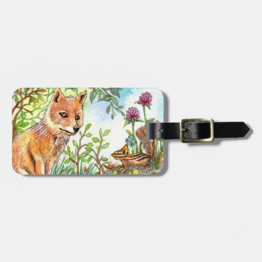 Little Fox And Chipmunk Luggage Tag