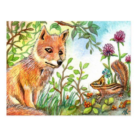 Little Fox And Chipmunk Postcard