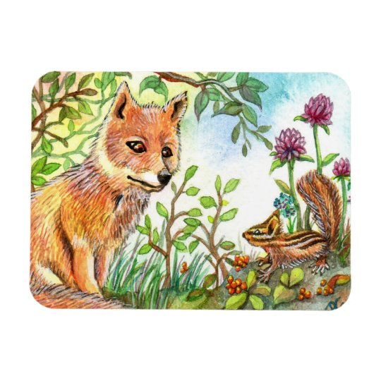 Little Fox And Chipmunk Rectangular Photo Magnet