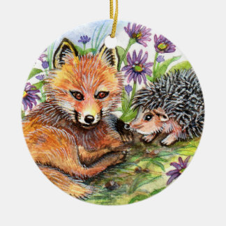 Little Fox And Hedgehog Ceramic Ornament
