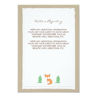 Little Fox Baby Shower Insert Card