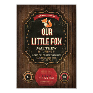 Little Fox Birthday Party Rustic Chalkboard & Wood Card
