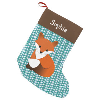 Little Fox Personalized Small Christmas Stocking