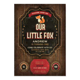 Little Fox Vintage Chalkboard Wood Birthday Party Magnetic Invitations