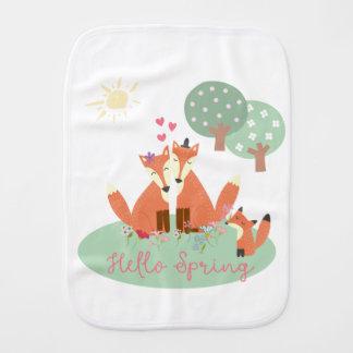 Little Foxes- Hello Spring Burp Cloth