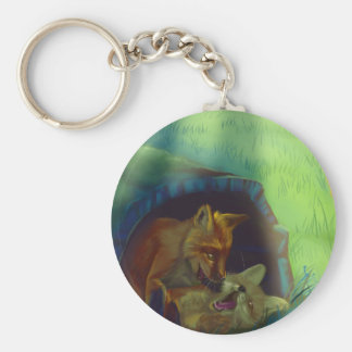 Little foxes in a tree keychain