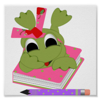 Little Frog With Book and Pencil Poster