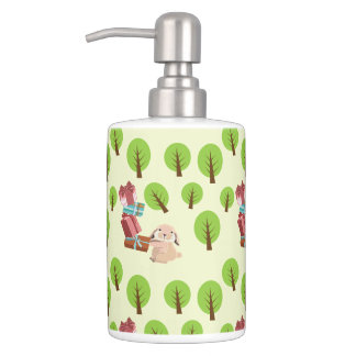 Little furry rabbit carries gifts pattern bathroom set
