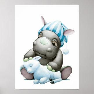 Little G the Baby Rhino and Lamb Nursery Print