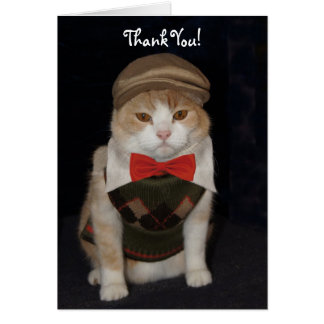 Little Gentleman Cat in Argyle Sweater Thank You Card