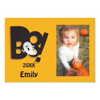Little Ghost Customized Halloween Photo Frame Card