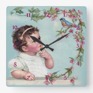 Little Girl and  Blue Bird Square Wall Clock