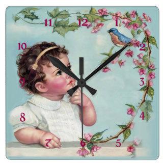 Little Girl and  Blue Bird Wallclock