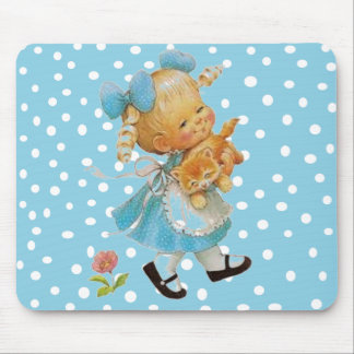 Little Girl and Kitten Mouse Pad