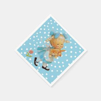 Little Girl and Kitten Paper Napkin