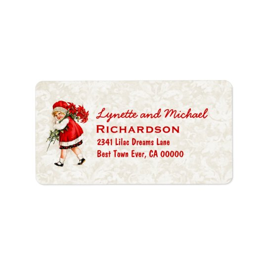 Little Girl and Poinsettias Vintage Christmas B423 Label