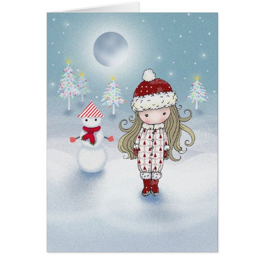 Little Girl and Snowman Christmas Card