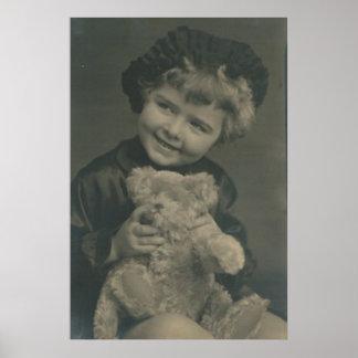 little girl and teddy bear poster