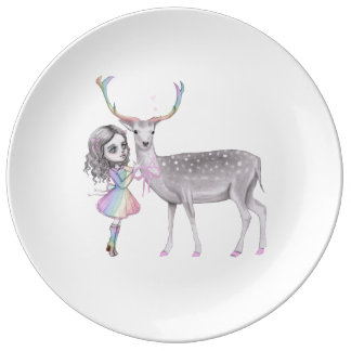 Little girl and the rainbow deer plate