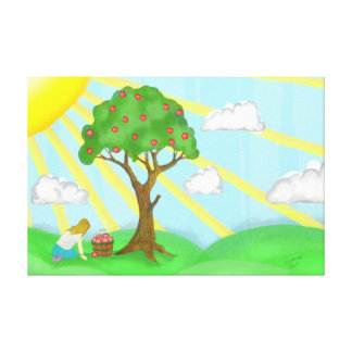 Little Girl & Apple Tree Premium Wrapped Canvas