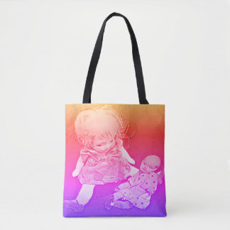 Little Girl Baby Doll Pop Colors Tote Bag