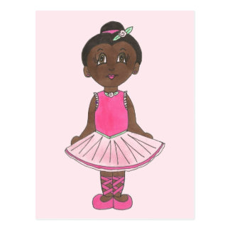 Little Girl Ballerina Ballet Dancer Pink Rose Tutu Postcard