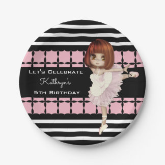 Little Girl Ballerina Custom Birthday 7 Inch Paper Plate