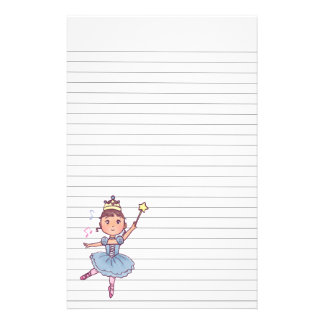 Little Girl Ballet Dancer With Crown and Wand Custom Stationery