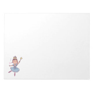Little Girl Ballet Dancer With Crown and Wand Notepad