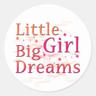 Little Girl Big Dreams Round Sticker