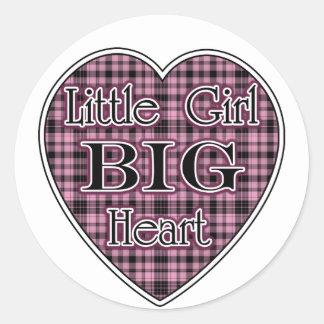 Little Girl Big Heart Classic Round Sticker