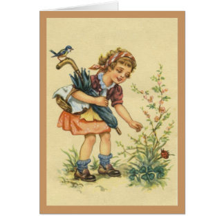Little girl, bird and ladybird and occasion Card