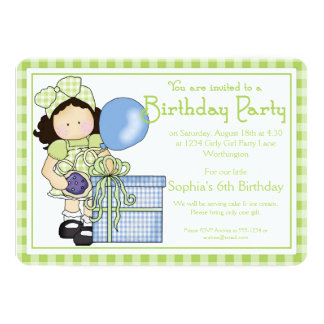 Little Girl Birthday Party Invite Country Girl d5