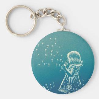 Little girl blowing on a dandelion keychain