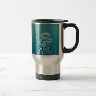 Little girl blowing on a dandelion travel mug