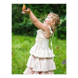 Little Girl Catching a Butterly Letterhead