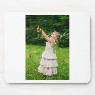 Little Girl Catching a Butterly Mouse Pad