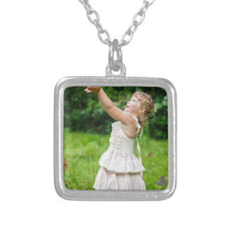 Little Girl Catching a Butterly Silver Plated Necklace