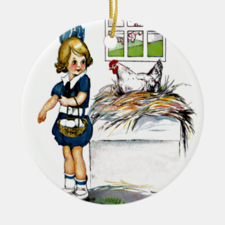 Little girl collecting eggs ceramic ornament